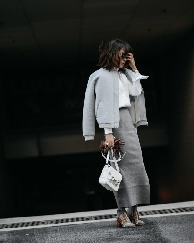 greige-bomber jacket-long midi skirt-socks with sandals-tights with sandals-all grey-whit epurse-spring work outfit-
