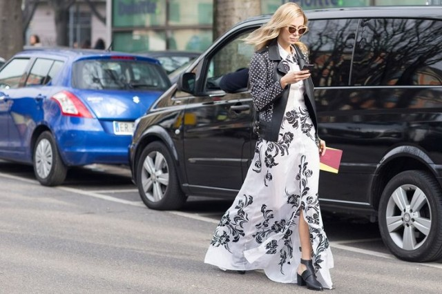 black-and-white-florals-maxidress-moto-jacket-mules-via-vogue.co.uk-wedding-party-work-spring