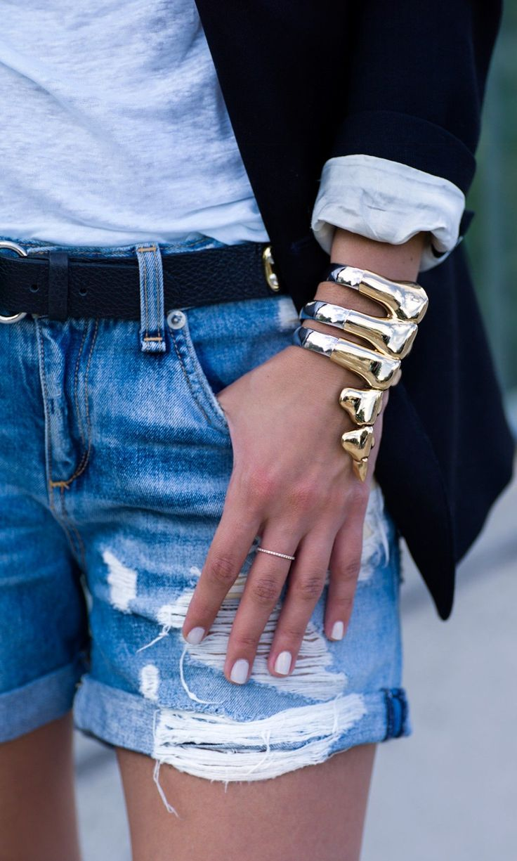 cuff-accessories-jewelry-cutoffs-and-blazers-summer-style-outfit-weekend-via-lolobu.com