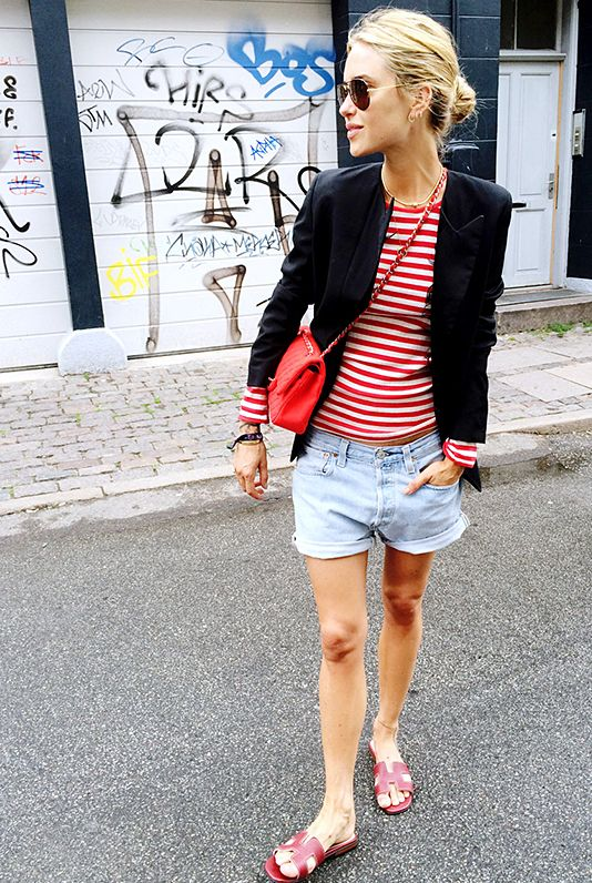 red-striped-tee-red-white-and-blue-black-blazer-slides-cutoffs-and-blazers-summer-style-outfit-weekend-via-look de pernille