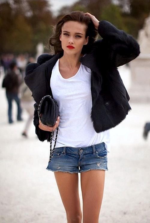 white-tee-french-style-black-blazer-date-night-cutoffs-and-blazers-summer-style-outfit-weekend-via-richesforrags.tumblr.com