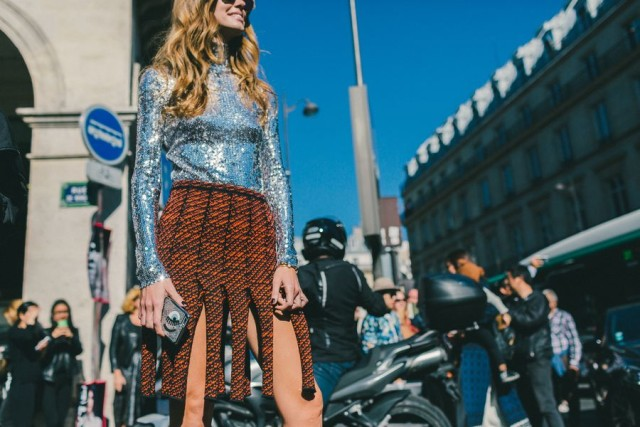 carwash pleats eye silver sequins daytime sequins evenign to day night to day orange burnt orange tweed black and orange paris fashion week street style fall fashion