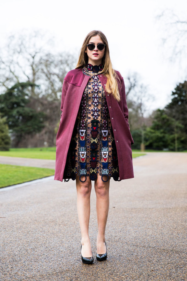 embroidered dress-berry coat-party going out night out-lfw street style-psuk