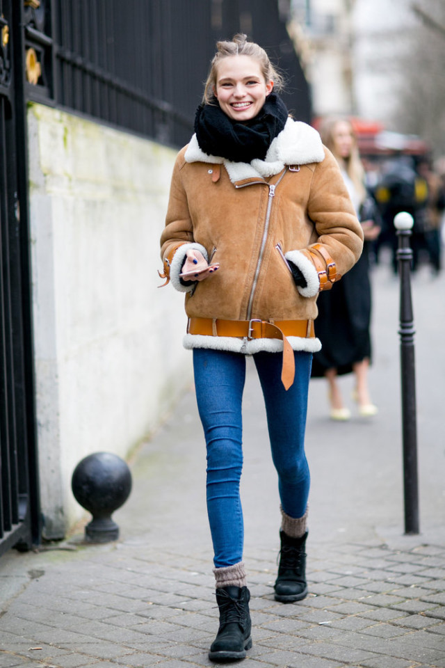 shearling coat-lace up boots-socks-winter weekend outfit-pfw street style-